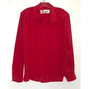 Vintage Josephine Sz 14 Red Layered Career Blouse